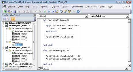 Um módulo que contém duas macros armazenadas em Module1 de Book1