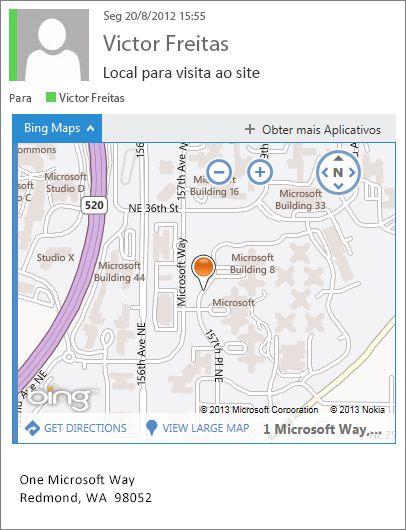 Mensagem de email com o aplicativo Bing Maps mostrando o endereço em um mapa
