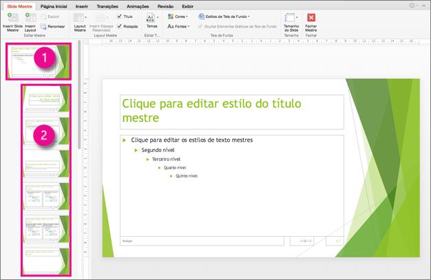 Slide mestre e layouts de slide