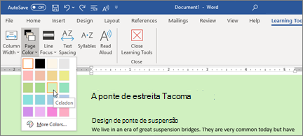 Um documento do Word com um plano de fundo verde e o seletor de cor da página aberto