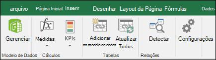 Menu do Power pivot na faixa de opções do Excel