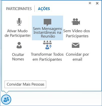 Captura de tela da opção Nenhuma mensagem instantânea na reunião