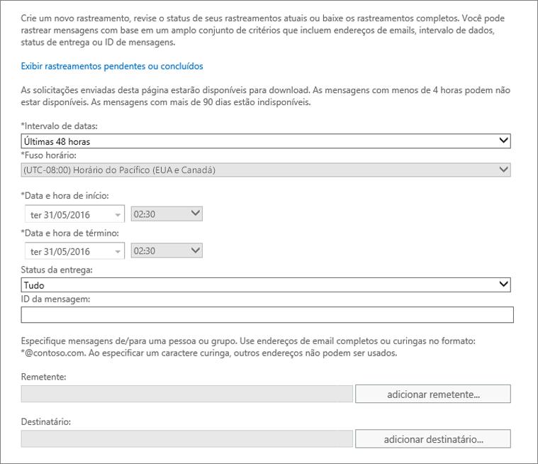Captura de tela mostrando as opções disponíveis no rastreamento de mensagens