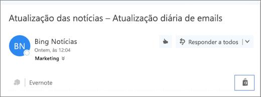 Captura de tela de um trecho da parte superior de uma mensagem de email com o ícone da Loja realçado. Clicar no ícone abre a janela Suplementos do Outlook, na qual você pode procurar e instalar suplementos.
