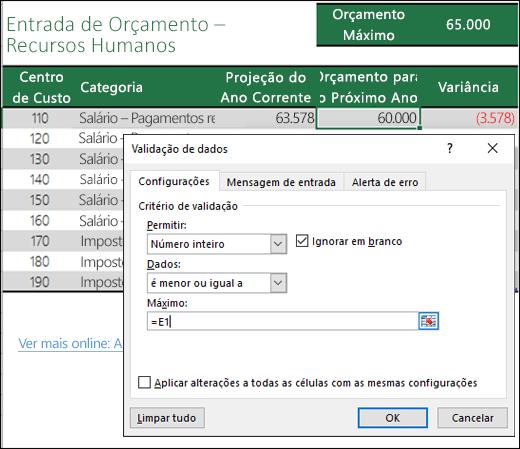 Configurações de validação para calcular com base em outro conteúdo da célula