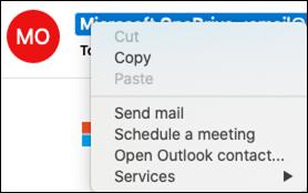 Abra as informações de contato de um email.