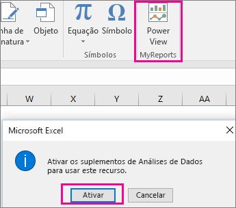 Botão do modo de exibição de tabela dinâmica personalizado e caixas de diálogo ativando o suplemento no Excel