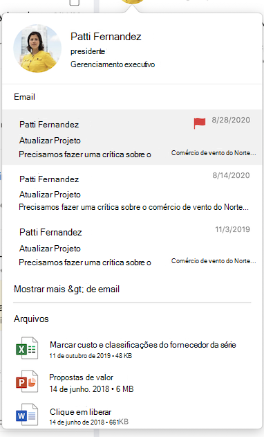 Emails e Arquivos no Cartão de Visita no Outlook