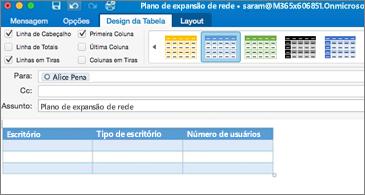 Mensagem com uma tabela e a guia Design da Tabela na faixa de opções visível