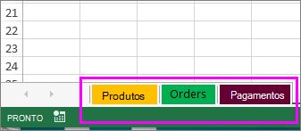 Pasta de trabalho mostrando as guias da planilha com cores diferentes