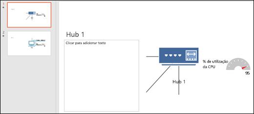 Captura de tela de slide do PowerPoint com título e gráfico de slide.