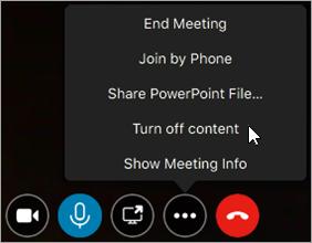 Exemplo de como desativar ou em conteúdo da reunião