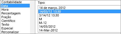 Caixa de diálogo Formatar células, comando Data, tipo PM 3/14/12 1:30