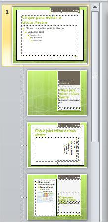 slide mestre com três layouts diferentes