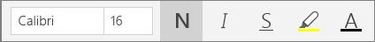 Botões de formatação de texto selecionados na faixa de opções de menu da Página Inicial no OneNote para Windows 10.