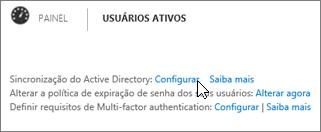 Escolha Configurar ao lado de Sincronização do Active Directory