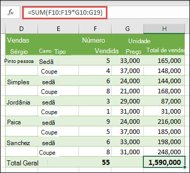 Fórmula de matriz de célula única para calcular um total geral com =SOMA(F10:F19*G10:G19)