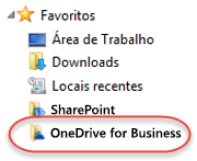 Listagem de favoritos do OneDrive for Business no SP2016
