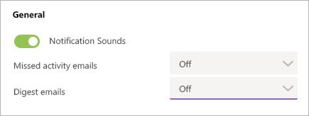 Imagem das configurações de atividade perdida e de email de resumo no Teams