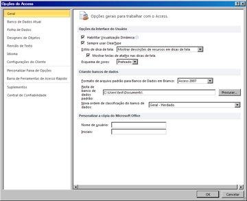 caixa de diálogo de opções do access exibindo a categoria geral para as opções de configuração global.