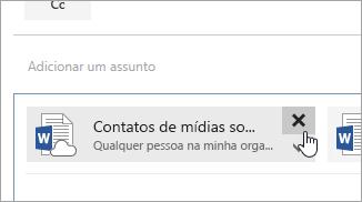 Captura de tela do botão Excluir anexo.