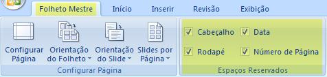 Desmarque uma caixa de seleção, como o Cabeçalho, para remover o recurso dos folhetos.