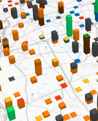 Exemplo de um gráfico de colunas empilhadas