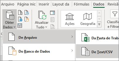 A opção De Texto é realçada na guia Dados.