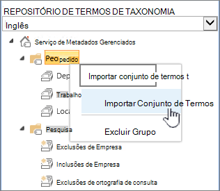 Conjunto de termos de importar lista suspensa