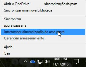 """Uma captura de tela do menu anterior do OneDrive for Business com a opção """"Interromper sincronização"""" selecionada."""