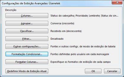 Caixa de diálogo Configurações de Exibição Avançadas