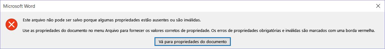 Caixa de diálogo informando que o arquivo não pode ser salvo.