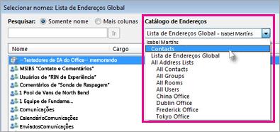 Alterar o catálogo de endereços