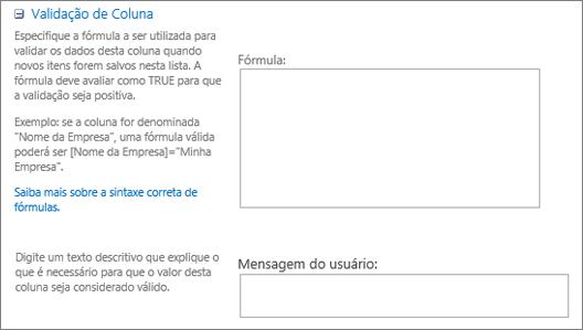 Seção de validação da caixa de diálogo Nova pergunta