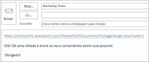 Escrever uma mensagem de email com um link