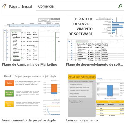 Captura de tela dos modelos de plano de projeto na categoria de Negócios.
