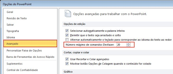 Click Advanced, and specify a value in Maximum number of undos.