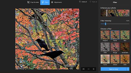 Fotos opções do aplicativo para edição