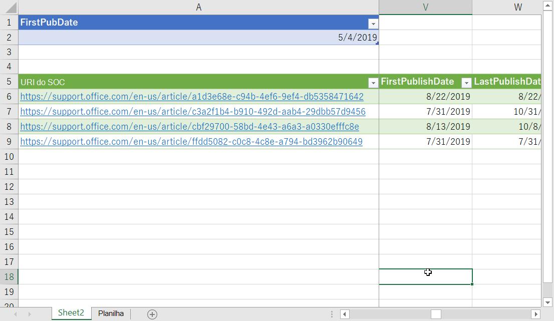 Dados filtrados no Excel