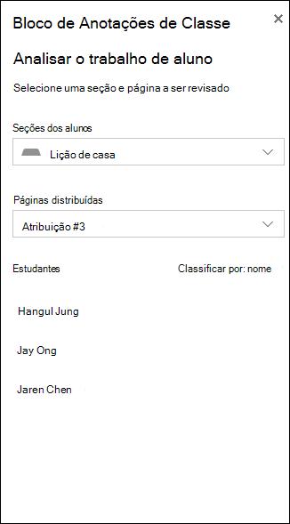 Exemplo de captura de tela das opções para analisar o trabalho de aluno
