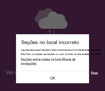 Notificação de seções no local incorreto no OneNote para Android