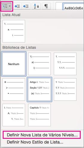 Na guia Página Inicial, o ícone de Lista de Vários Níveis e a opção Definir Nova Lista de Vários Níveis são realçados.