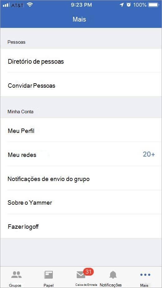 página do Yammer do iOS que lista mais opções