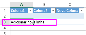 Adicione a nova linha de tabela digitando os dados na linha abaixo da última linha da tabela