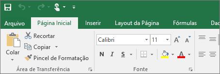 Mostra a faixa de opções com tema colorido no Excel 2016