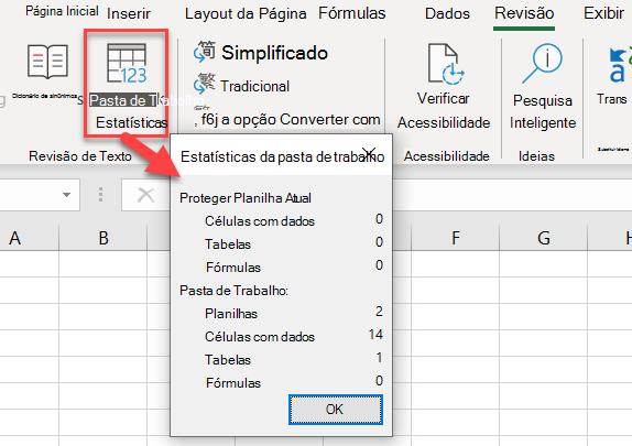 Caixa de diálogo Estatísticas da pasta de trabalho