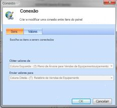 Caixa de diálogo Conexão, guia Itens, mostrando conexões de relatório