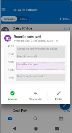 Calendário com hora proposta e botões Aceitar, Responder e Editar