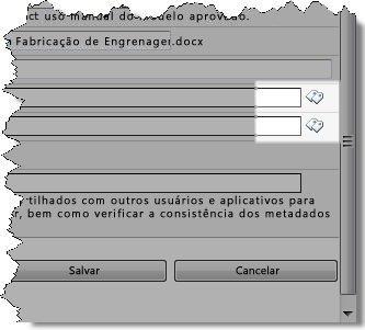 Ícones de marcas na caixa de diálogo Editar Propriedades