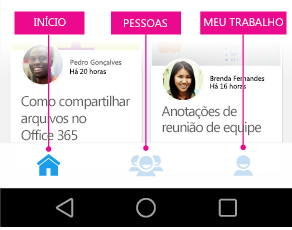 Menu principal do Delve para Android